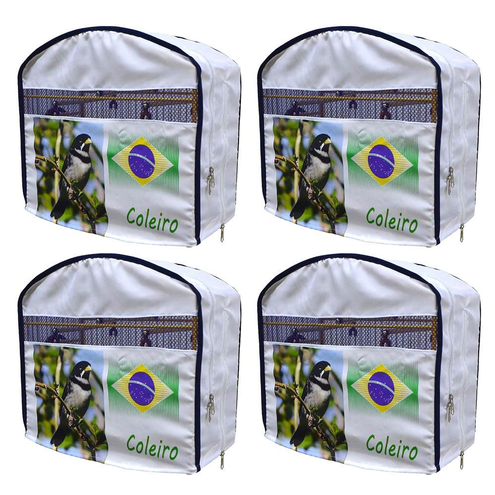 Kit 4 Capas De Tecido Para Gaiola De Coleira Luxo Coleirinha