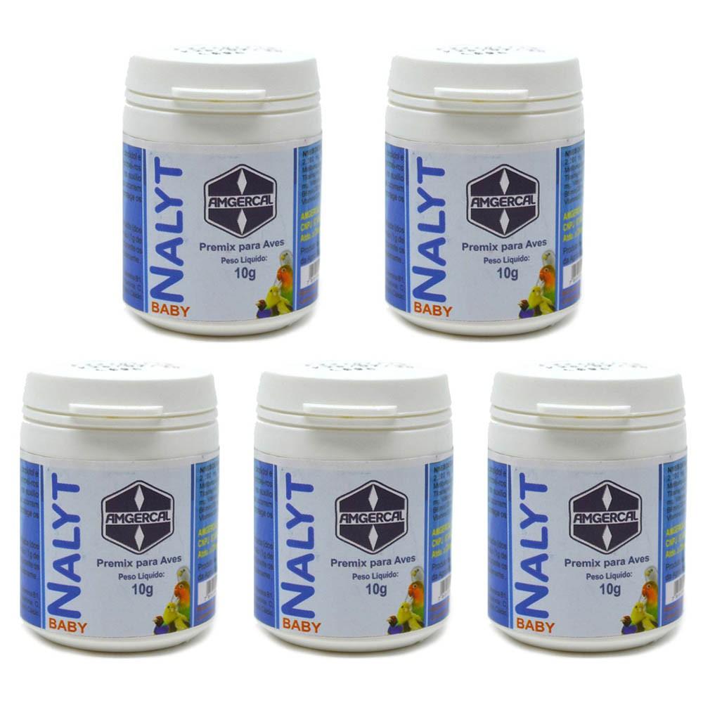 Kit 5 Nalyt Baby 10g - Amgercal - Vitamina Filhotes Pássaros