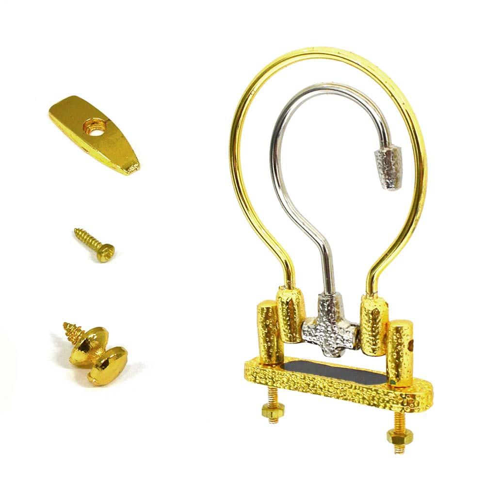 Kit Alça Pequena Dourada-Prateada + Puxador + Trava