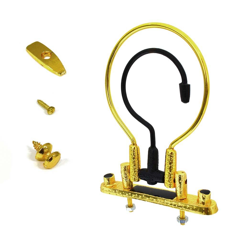 Kit Alça Pequena Dourada-Preta + Puxador + Trava