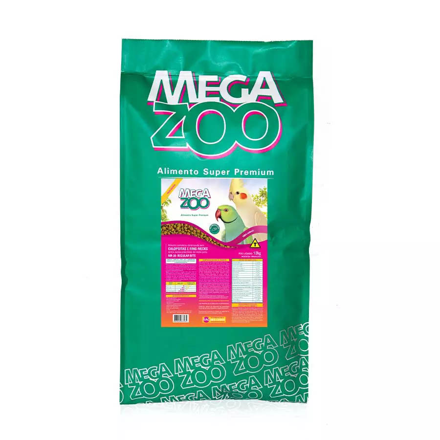 Megazoo MR 20 Extrusada Médios Psitacídeos Reprodução - 12kg