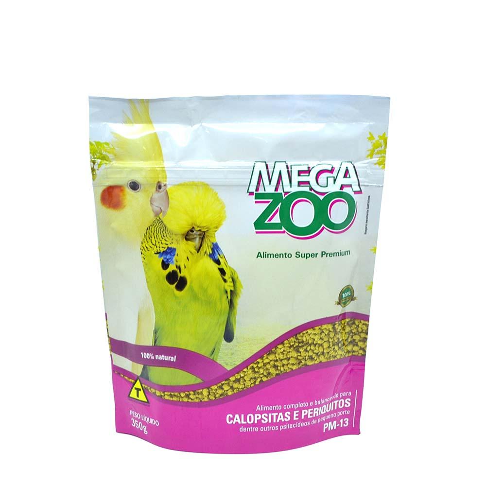 Megazoo PM13 Ração Extrusada Periquitos Calopstias e Pequenos Psitacídeos - 350g