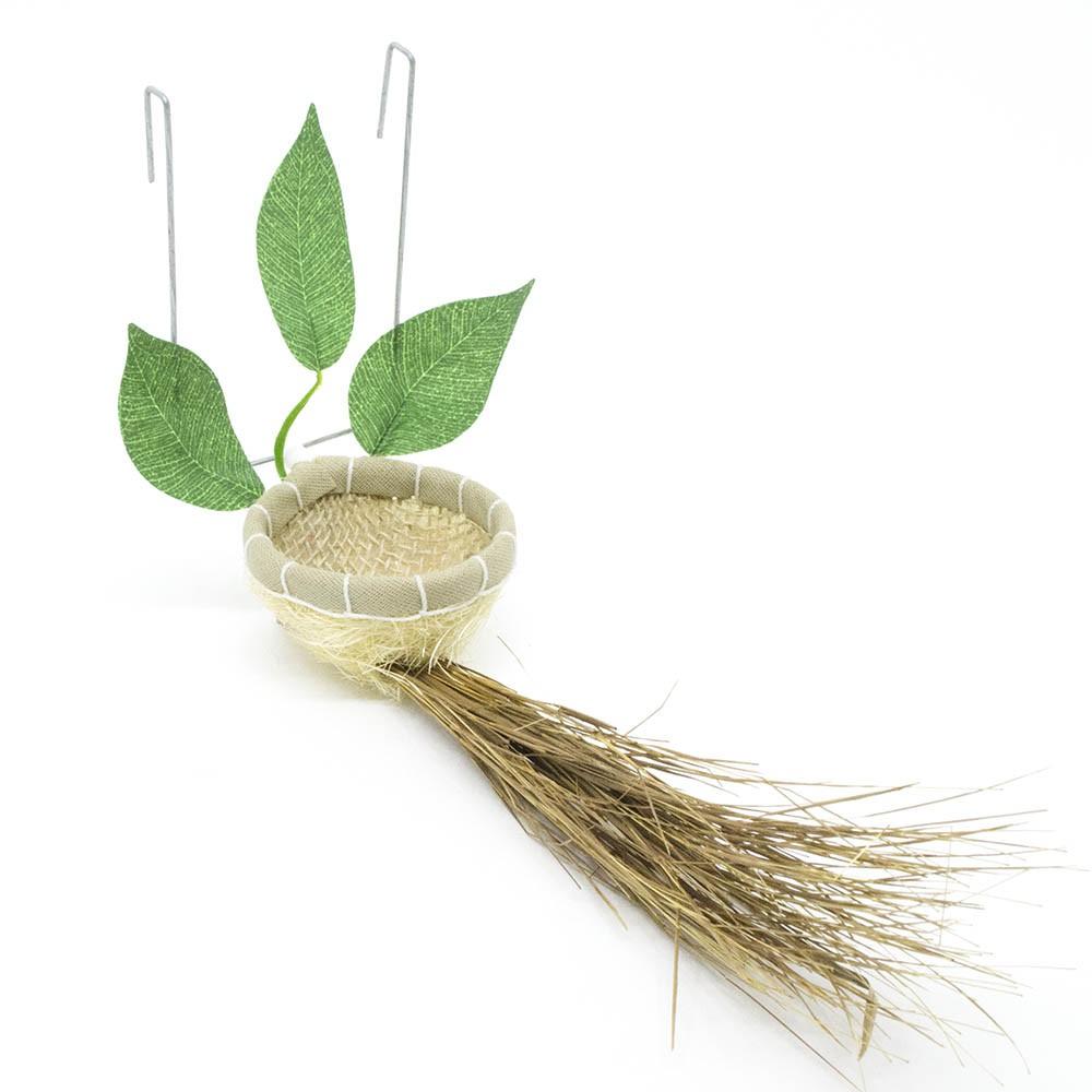 Ninho Natural para Coleiro e Pintassilgo com Folhas e Raiz