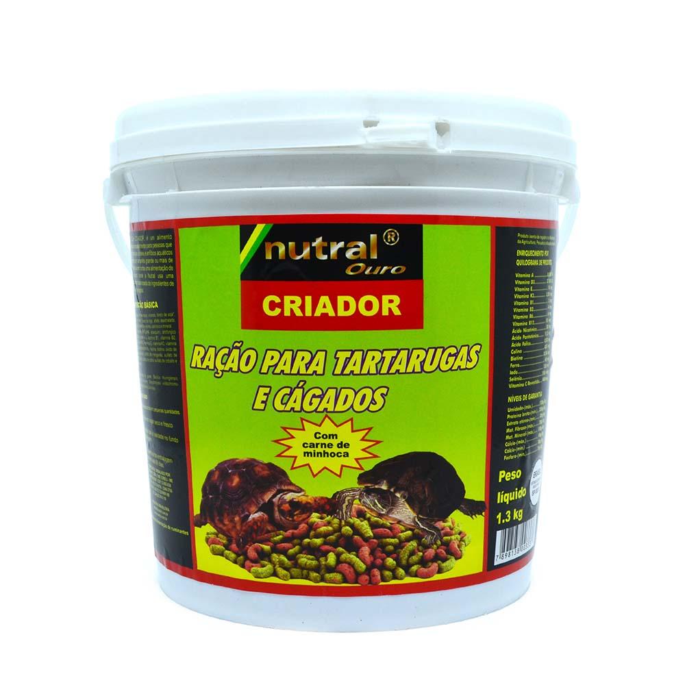 Nutral Ouro - Tartaruga Jabuti Cágado - Carne de Minhoca - 1,3kg