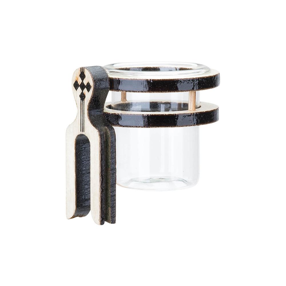 Porta Vitamina Argola Dupla Ferradura Pequeno MF - Marfim - C/ Vidro