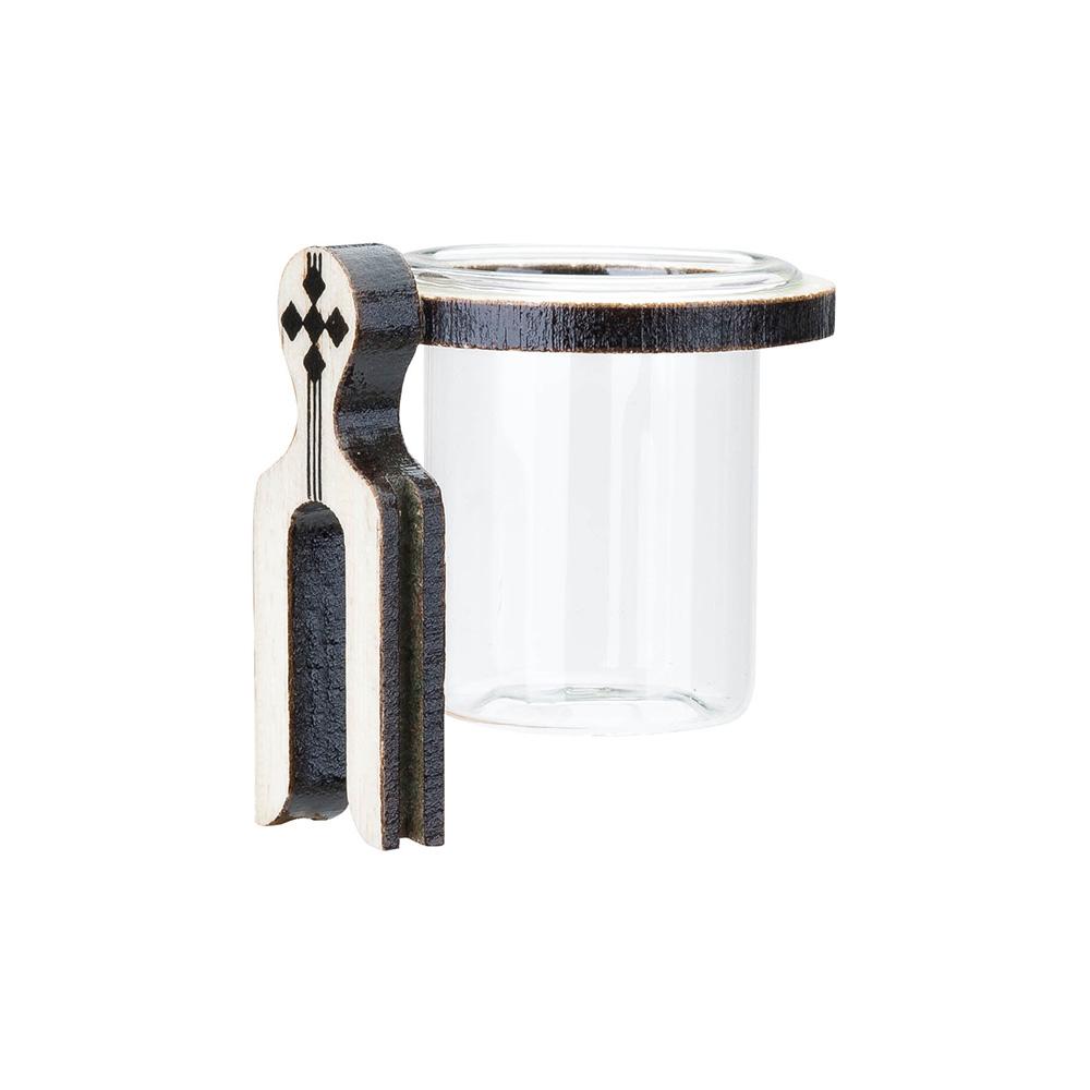 Porta Vitamina Argola Ferradura Pequeno MF - Marfim - C/ Vidro