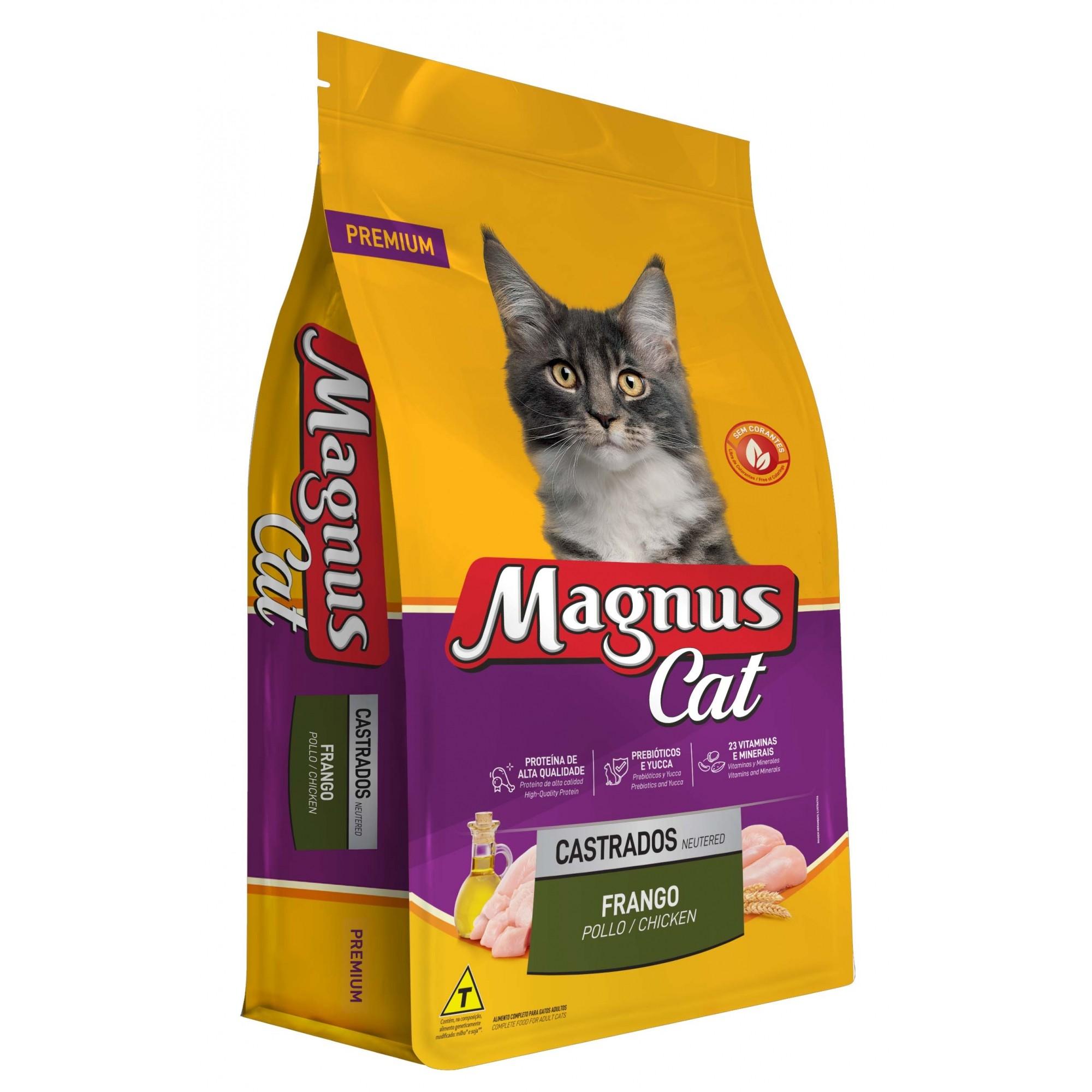Ração Magnus Premium Especial Gatos Castrados Sabor Frango - 10,1Kg