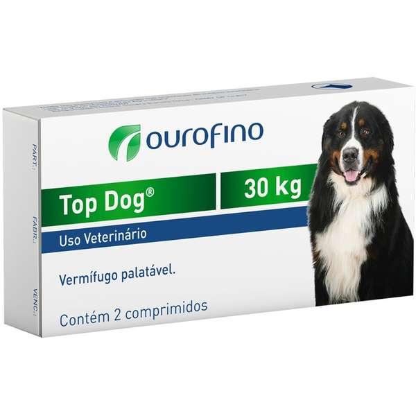 Vermífugo Ouro Fino Top Dog para Cães de até 30 Kg - 2 Comprimidos
