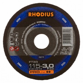 Disco de Corte PRO FT33 115X3,0X22,23 RHODIUS 200719