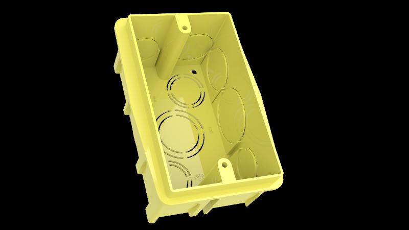 Caixa de Embutir em Alvenaria 2X4 Amarelo 091-E ENERBRAS