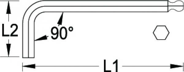 Chave Allen L Abaulada Longa 3mm GEDORE 012.904