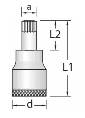 Chave Soquete Multidentada Longa 8mm Encaixe 1/2 GEDORE 016.810