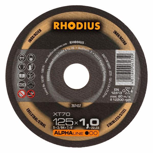 Disco de Corte ALPHA XT70 125X1,0X22,23 RHODIUS 207437
