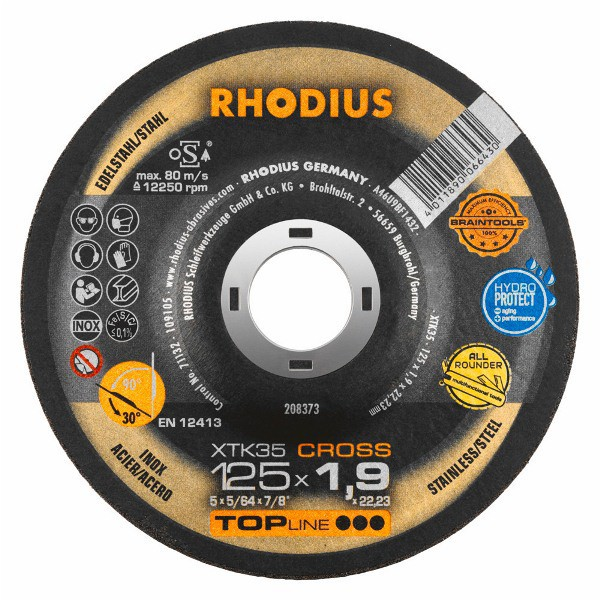Disco de Corte TOP Braintools XTK35 CROSS 125X1,9X22,23 RHODIUS 208373