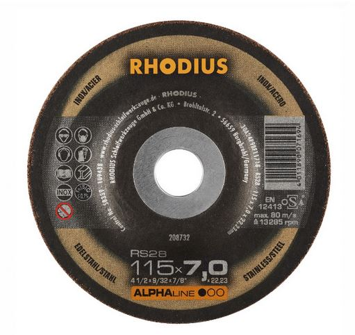 Disco de Desbaste ALPHA RS28 115X7,0X22,23 RHODIUS 208732