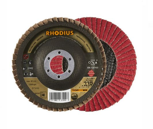 Disco Flap Ceramicon JUMBO SPEED ANG 115X22,23 GR40 RHODIUS 208743