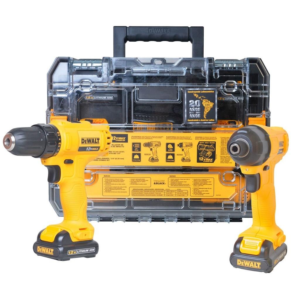 Combo Furadeira + Parafusadeira A Bateria 12V DEWALT DCK201C2BR