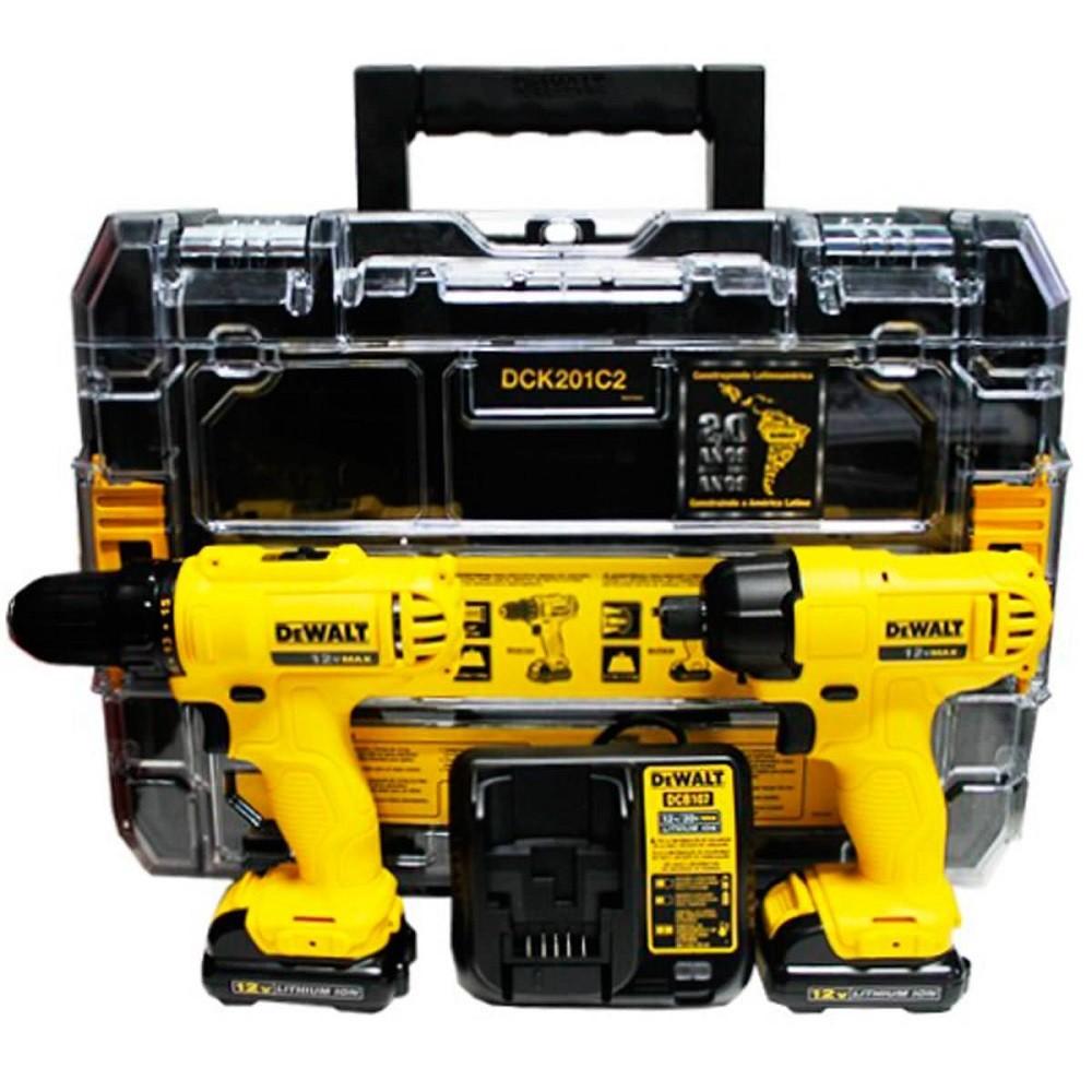 Furadeira + Parafusadeira Combo Bateria 12V DEWALT DCK201C2BR