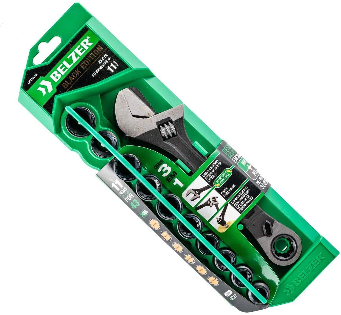 Jogo De Soquetes Vortex X6 11 Peças e Chave Ajustável 10-19mm BELZER CPTAW8B