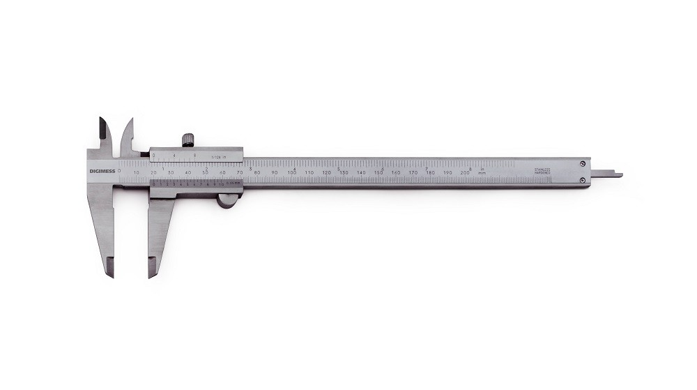 "Paquímetro Universal Em Titânio 200mm/8"" / +- 0,05mm / 0,05mm/1/128'' DIGIMESS 100.003 TIN"