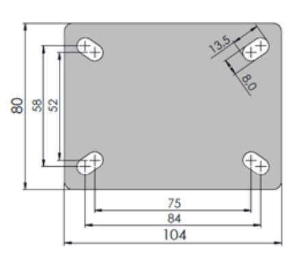 Rodízio De Borracha Termoplástica 4''X1.1/4 Placa Fixa Sem Freio COLSON FLP.412.BP