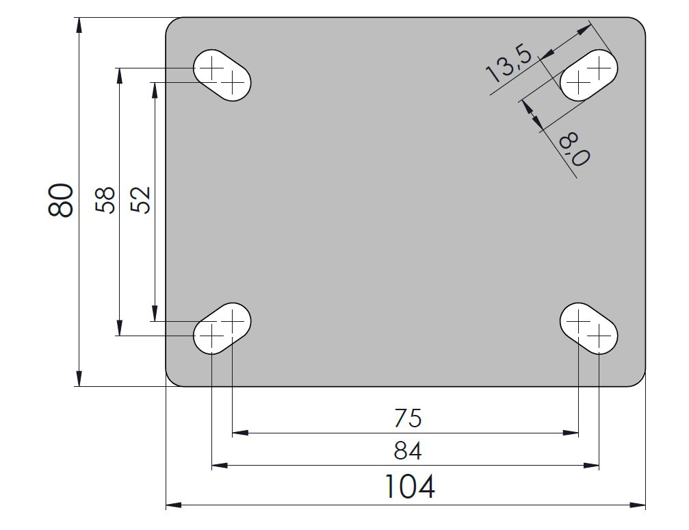 Rodízio Performa 4''X1.1/4 Placa Giratória Sem Freio Sem Esfera COLSON GLP.412.PER.N