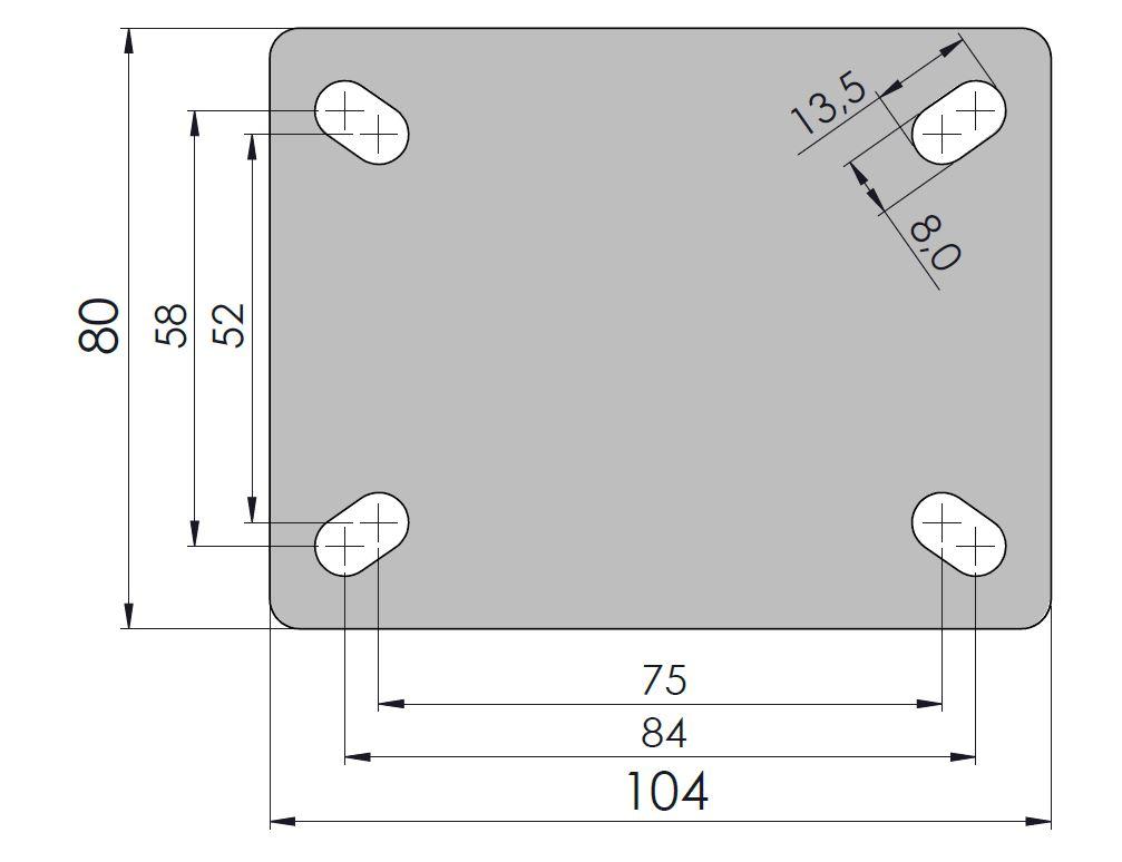 Rodízio Performa 5''X1.1/4 Placa Giratória Com Freio Sem Esfera COLSON GLPF.512.PER.N