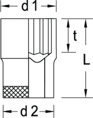 Soquete Estriado 9mm Encaixe 1/2 GEDORE 015.100