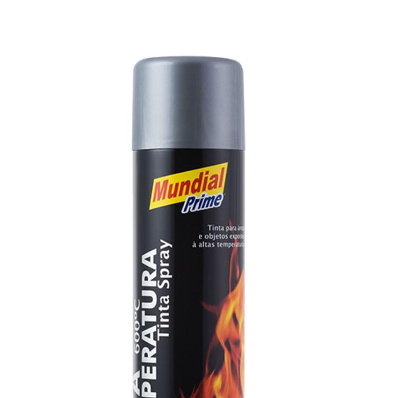 Tinta Spray 400ml Alta Temperatura Cinza Alumínio Mundial Prime