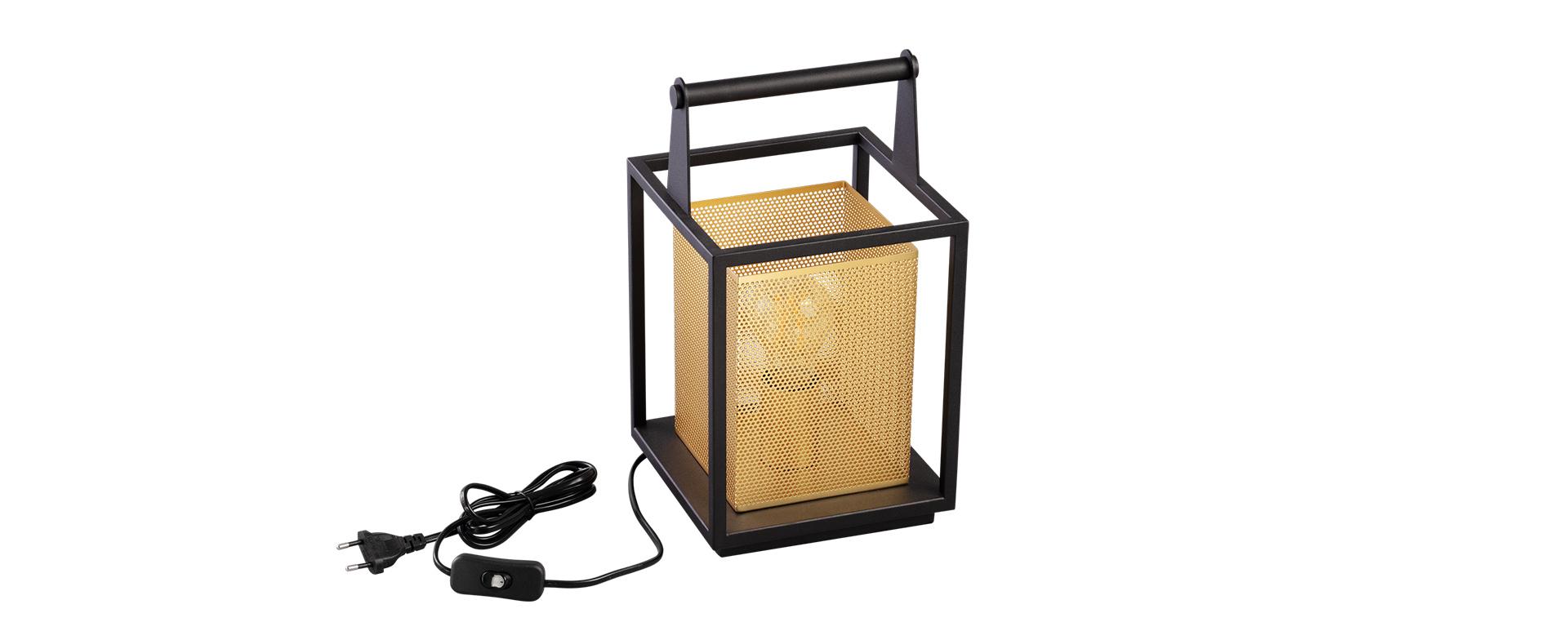 Abajur com Alça Linha Grifty Preto e Dourado Bivolt 1x E-27 SD6390 328mm x 180mm - Stella Iluminação