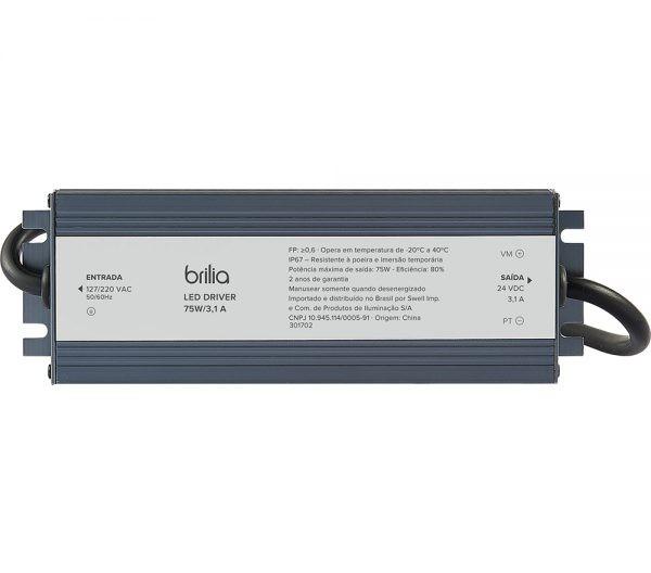 Driver Blindado 12V 75W 6,25A IP67 435878  Brilia
