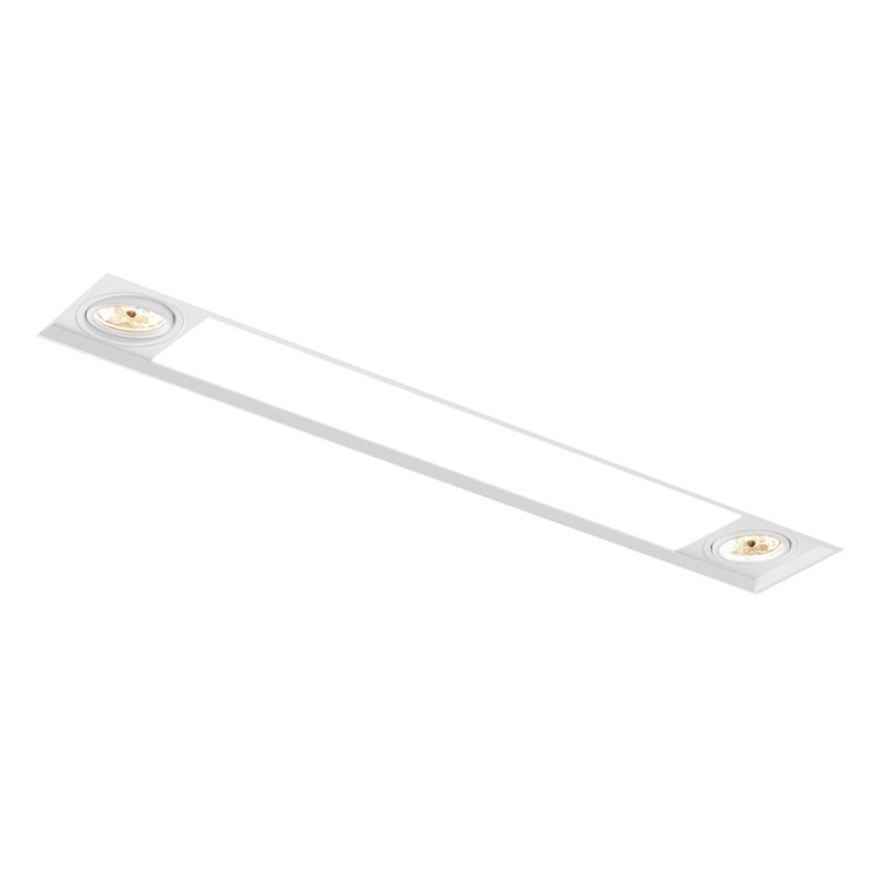 Luminária de Embutir Retangular No Frame 2x Dicroica / 2x Tubular T8 IN60231  NewLine