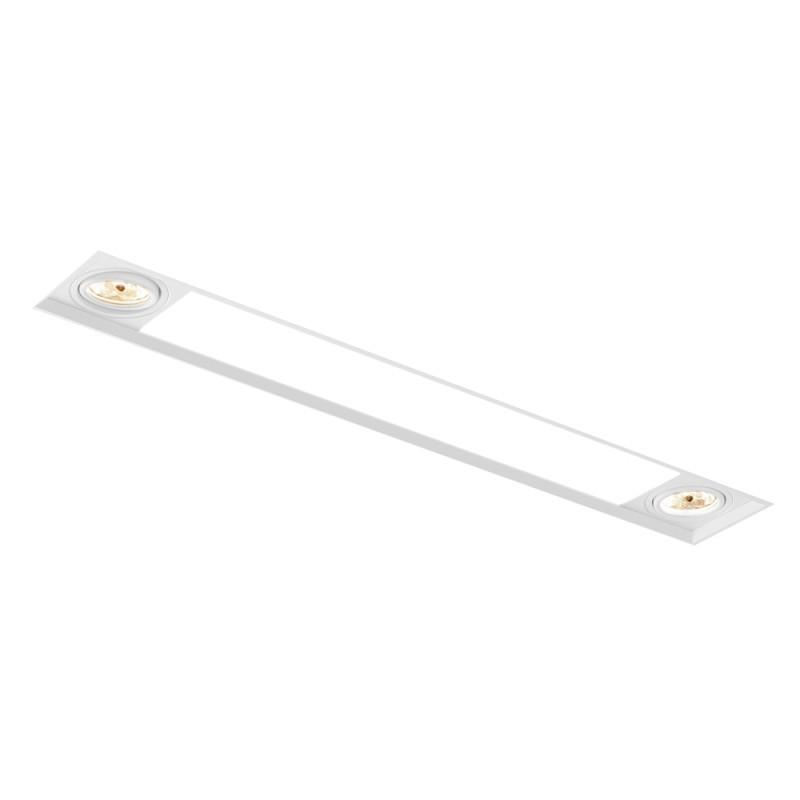 Luminária de Embutir Retangular No Frame 2x Dicroica / 2x Tubular T8 IN60236 NewLine