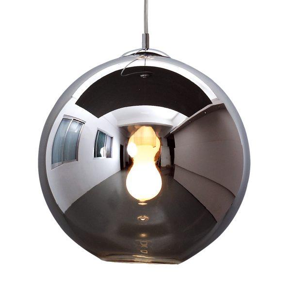 Pendente Bola Aço Cromado / Vidro Fumê D40cm 1x E-27 PE-001/1.40PR Mais Luz