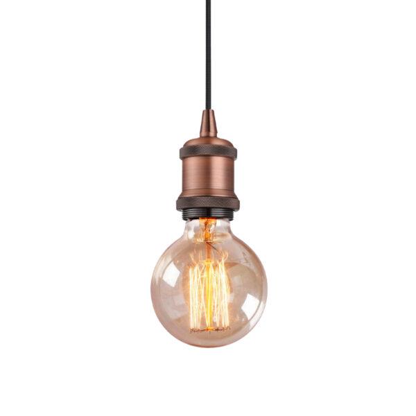 Pendente de Aço Cromado e Vidro Transparente Ø4,8cm 1x E-27 PE040/1.50BRO Mais Luz