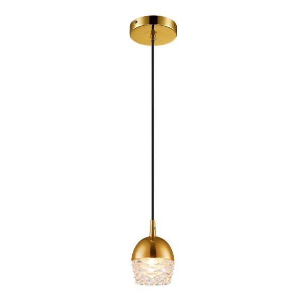 Pendente de Aço Dourado e Vidro Transparente Ø10cm 1x G9 PE-038/1.10DOU  Mais Luz