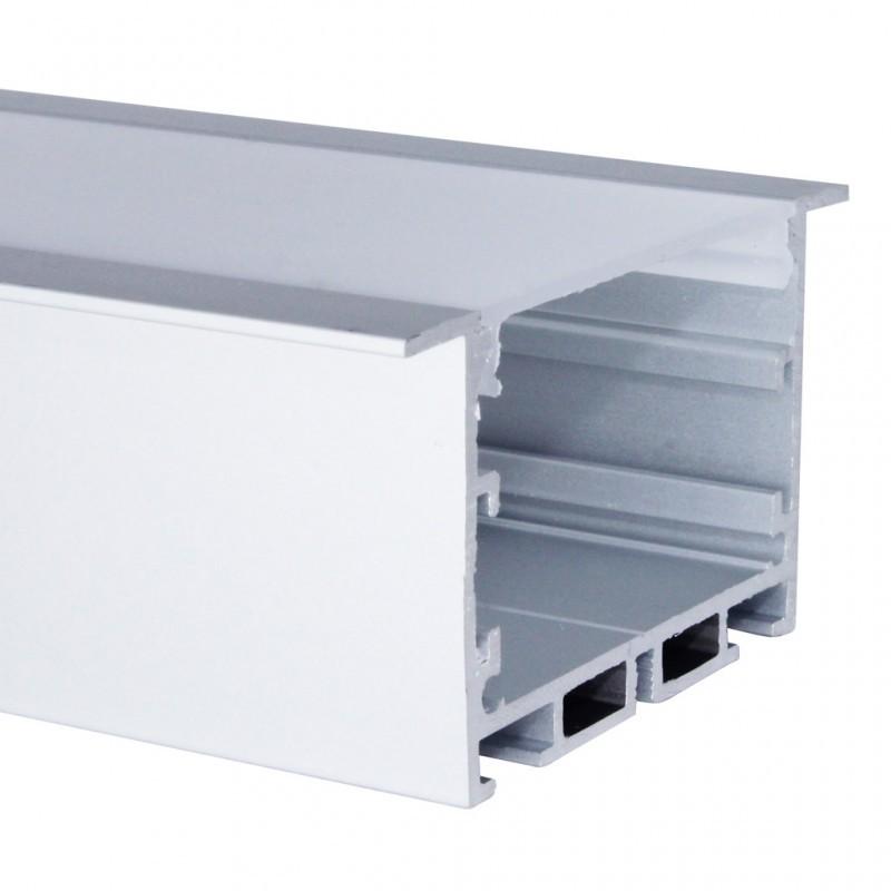 Perfil de Embutir 2 Metros P/ Fita LED C/ Difusor Leitoso EKPF52 - Eklart
