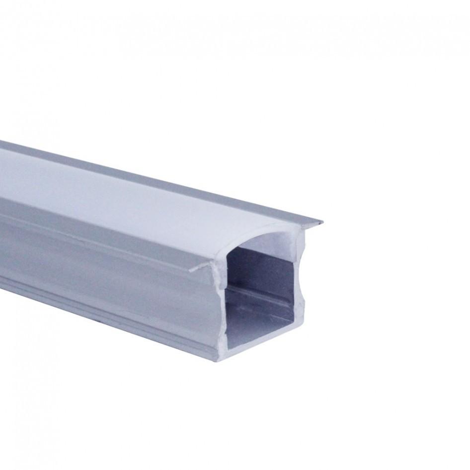 Perfil de Embutir Stander 2 Metros Para Fita LED Com Difusor em Acrílico Leitoso EKPF11 Eklart