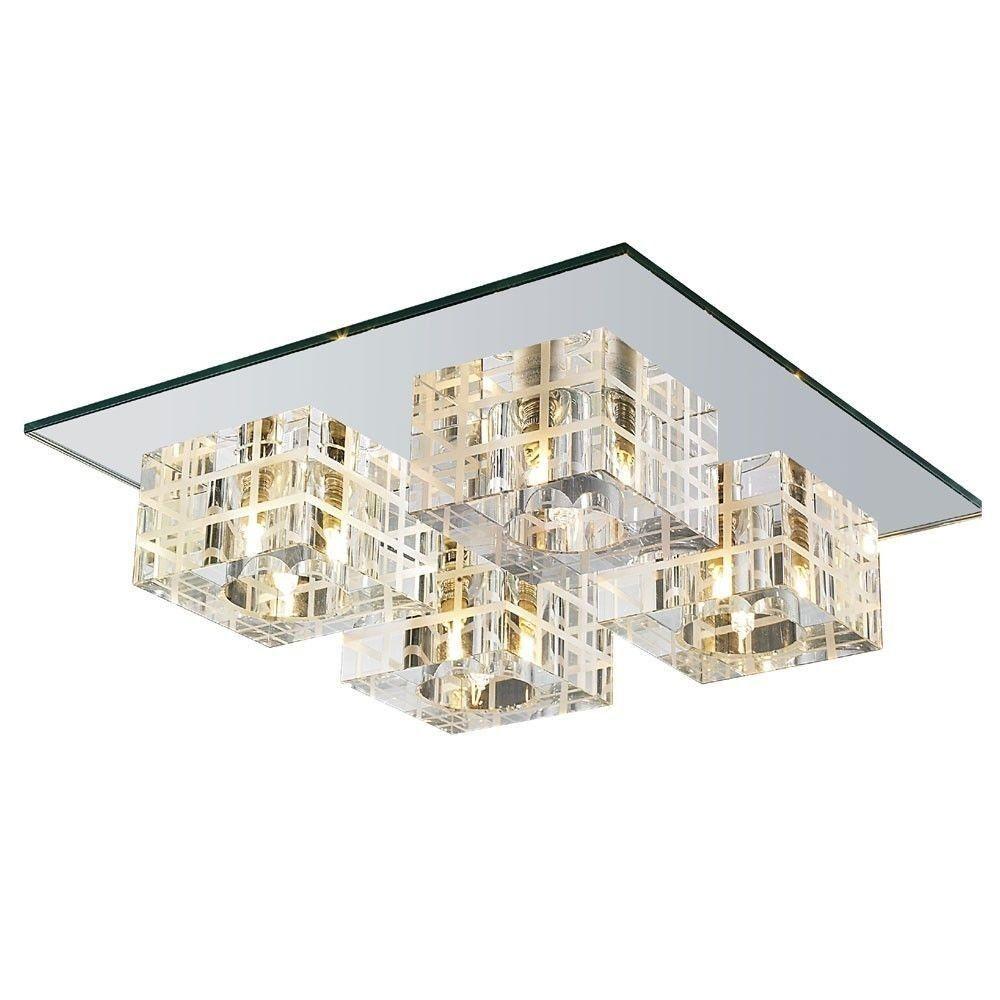 Plafon de Sobrepor em Aço, Cristal e Vidro Espelhado C30cm 4x G9 PL-014/4.30EP Mais Luz