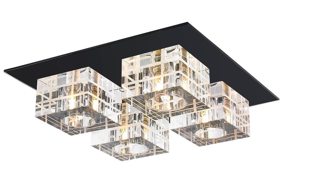 Plafon de Sobrepor em Aço, Cristal e Vidro Preto C30cm 4x G9 PL-014/4.30PT Mais Luz
