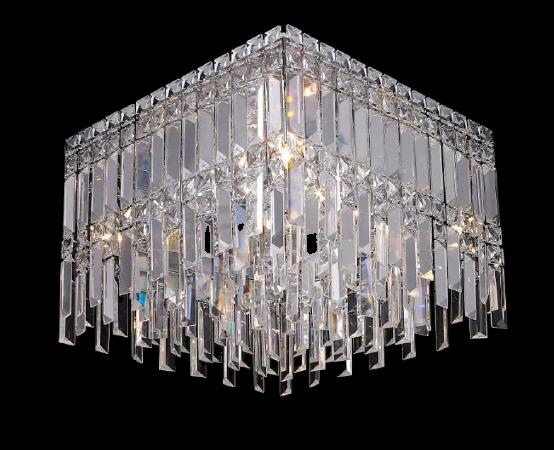 Plafon de Sobrepor em Aço Cromado e Cristais Translúcidos C40cm 6x G9 PL019/6.40CL  Mais Luz