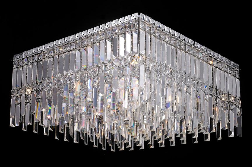 Plafon de Sobrepor em Aço Cromado e Cristais Translúcidos C60cm 9x G9 PL019/9.60CL  Mais Luz