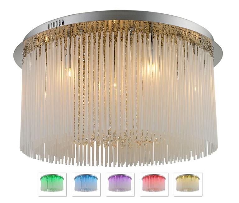 Plafon de Sobrepor em Aço Cromado e Sistema de LED RGB D60cm 9x G9 PL011/9.60 Mais Luz