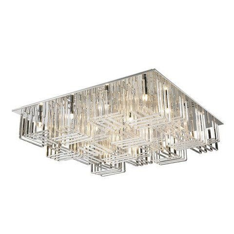 Plafon em Aço Cromado e Vidro Translúcido C60cm L60cm 9x G9 PL-018/9.60CL  Mais Luz