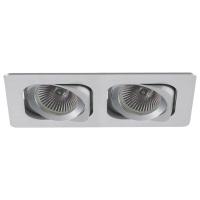 Spot de Embutir 2x Dicróica Retangular Direcionável em Alumínio C 174mm NS6002A  Bella Iluminação