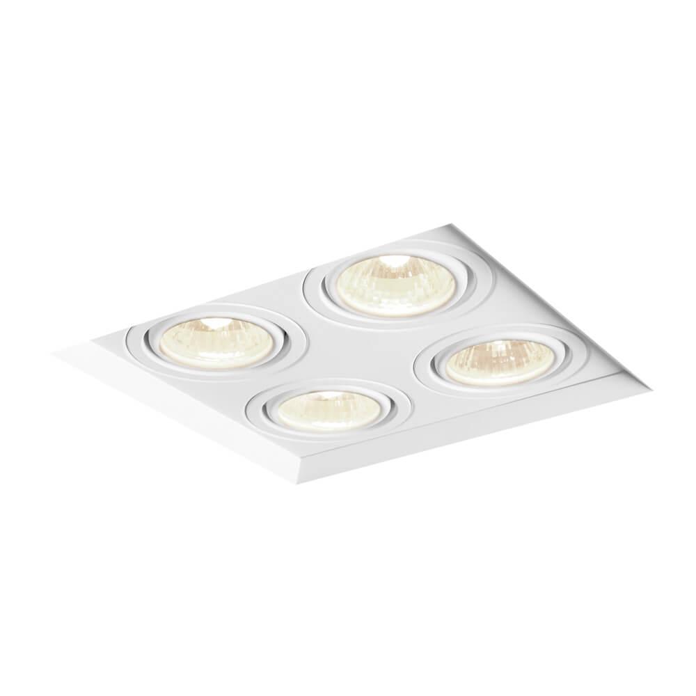 Spot de Embutir Quadrado Recuado Orientável em Alumínio No Frame 4x AR111 IN61354  Newline