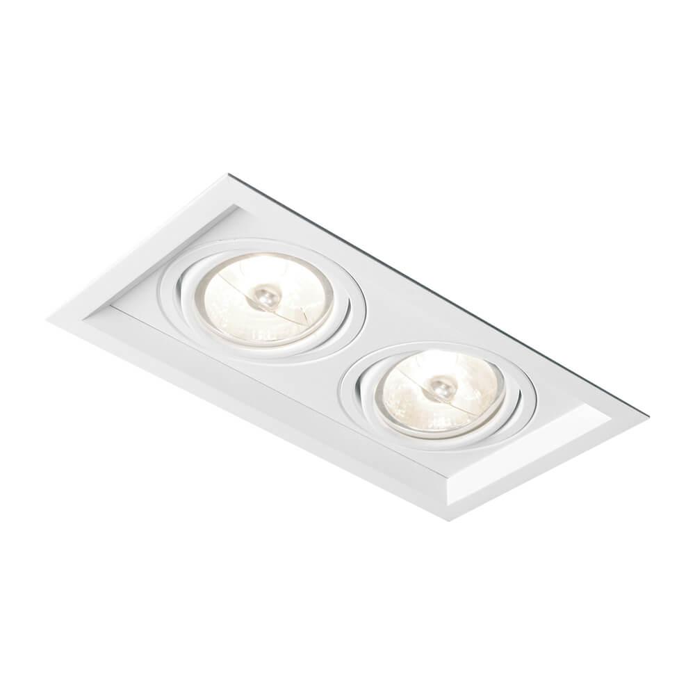 Spot de Embutir Retangular Recuado Orientável em Alumínio 2x Dicróica IN50322  Newline