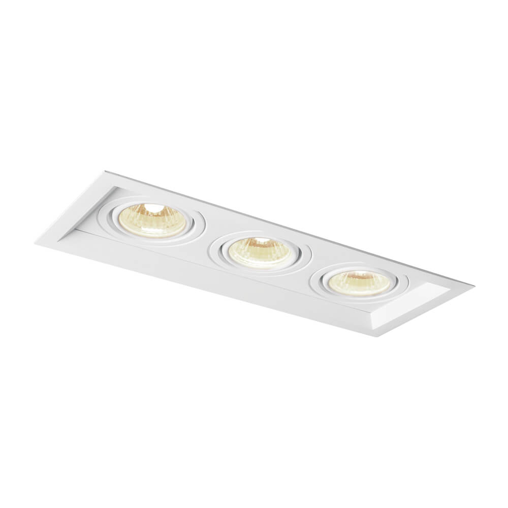 Spot de Embutir Retangular Recuado Orientável em Alumínio 3x AR111 IN51353  Newline