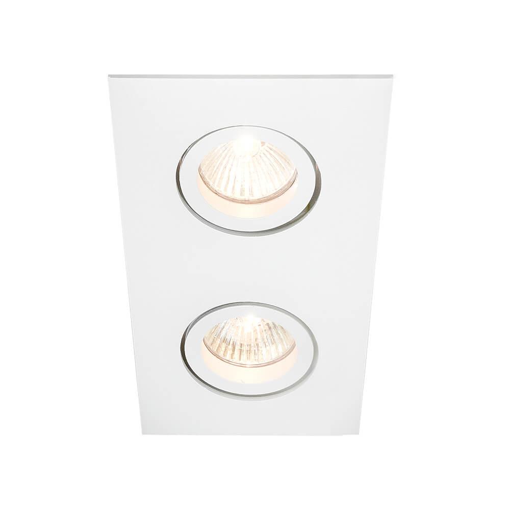 Spot de Embutir Retangular Rente Orientável em Alumínio 2x AR70 IN55542  Newline