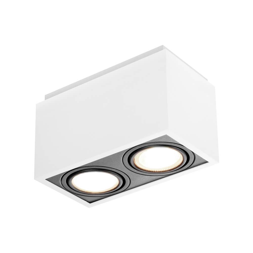 Spot de sobrepor Retangular Box Rente Orientável em Alumínio 2x AR70 IN41142  Newline